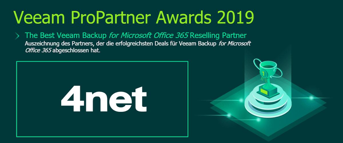 Veeam Partner Award Microsoft 365 Backup für 4net
